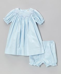 Take a look at this Blue Bishop Dress & Bloomers - Infant by Petit Pomme on #zulily today!