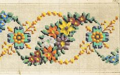 Such a pretty swag border pattern! Beaded Cross Stitch, Cross Stitch Borders, Cross Stitch Rose, Cross Stitch Flowers, Cross Stitch Designs, Cross Stitch Embroidery, Embroidery Patterns, Hand Embroidery, Cross Stitch Patterns