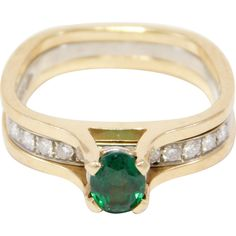 Emerald & Diamonds Ring Modernist Unique Design -- Shop during the Ruby Lane Red Tag Off Sale Emerald Diamond, Diamond Rings, Estate Rings, Ruby Lane, Statement Jewelry, Artisan Jewelry, Wedding Bands, Vintage Jewelry, Diamonds