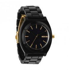 Nixon Womens Watch Acetate Time Teller All Black Gold