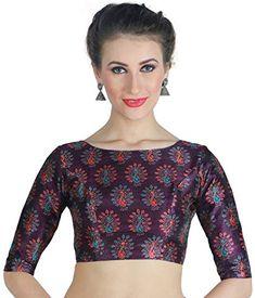 5678e7759863c Studio Shringaar Women s Poly Raw Silk Peacock Print Saree Blouse