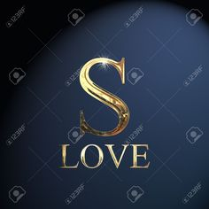 Gold Alphabet Letter S Word Love On A Blue Background Stock Photo, Picture And Royalty Free Image. S Word Images, S Letter Images, Love Heart Images, Alphabet Images, Love You Images, Love Photos, Words Wallpaper, Love Quotes Wallpaper, Alphabet Wallpaper