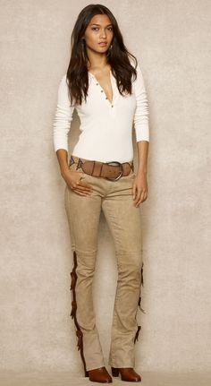 RALPH LAUREN BLUE LABEL. Western jeans with leather détails.