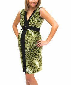 Green & Black Cheetah Chloe Sleeveless Maternity V-Neck Dress by Debbi O. Maternity #zulily #zulilyfinds