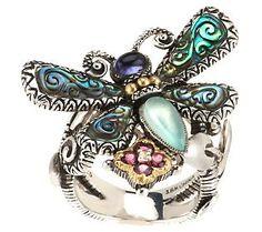 Barbara Bixby Sterling/18K Multi - Gemstone    Dragonfly Ring
