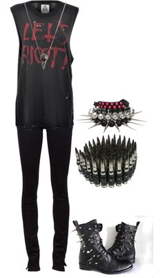 """Let's Riot"" by bvb3666 ❤ liked on Polyvore - maybe not the bracelets though"