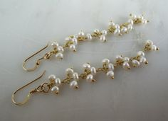 Seed Pearl Long Dangle Earrings Gold Vermeil by theknottedgem, $26.00
