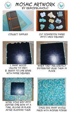 Pottery Barn inspired paper mosaic art tutorial