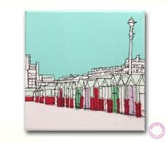Beach Huts - embroidered canvas by Gillian Bates