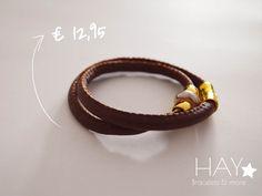 Dubbele armband | Bruin #sieraden #armbanden #bracelets #jewelery #mode #leer