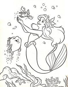 Desenhos De Ariel A Pequena Sereia Para Colorir Pintar Imprimir