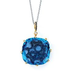 COLORED DIAMOND JEWELRY  Under $2,500  14k yellow gold diamond-engraved pendant with 28.02 ct. blue topaz and 0.29 ct. t.w. black diamonds; $1,700; Zeghani by Simon