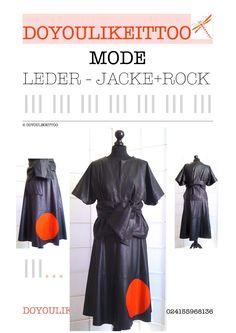 NEU ! Kombination: LEDER-JACKE + KUNSTLEDER-ROCK, schwarz/rot, Größe 36/38, in…