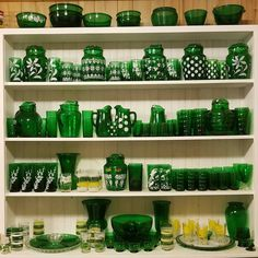"""Diane Friedemann on Instagram: """"Where to begin? This is a SMALL portion of my Hubby's dish collection. It started with pink & green depression glass creamers, then to…"""" Green Kitchen, Cookware, Pink And Green, Envy, Depression, Collections, China, Ceramics, Dishes"""