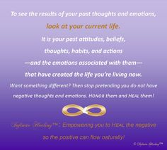 To see the results of your past thoughts and emotions,  look at your current life. Want something different? Learn how to HEAL! Another sneak peek into the Infinite HealingTM book Even if you do not HONOR the negative things in your life, they still influence what you are attracting. You can't attract something better if you are not willing to HEAL what you really think and what you really feel.  Make 2015 the year to HONOR YOU!
