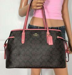 Coach Signature Drawstring Carryall Shoulder Bag Purse Handbag for sale online Coach Tote Bags, Large Handbags, Peony, Michael Kors Bag, Swag, Purses, Brown, Accessories, Fashion