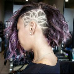 """Wicked lob with FLOWER OF LIFE undercut. Clipper design by @b.k_bescene Color and lob cut by @bescene #hotonbeauty"""