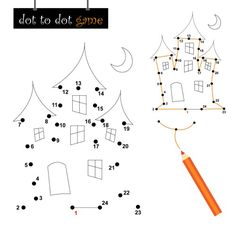 Halloween Song and Haunted House Dot to Dot Game for Kids!