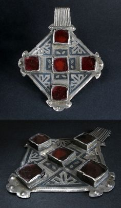 Morocco   Old solid silver, niello and glass pendant from the Ida ou Nadif berber people of the Anti Atlas region in the south west.   145$