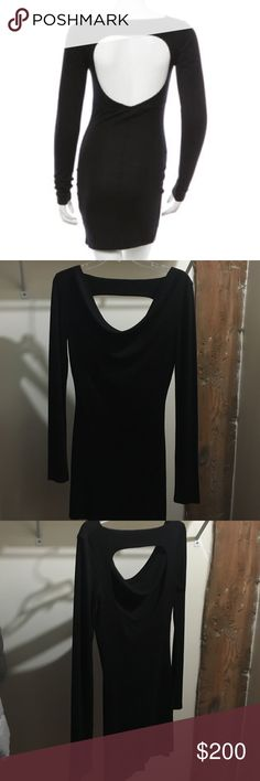 "Pierre Balmain long sleeve open back dress This is for a brand new with tags Pierre Balmain bodycon black dress in a size 6US/44IT. It fits like a size small. It is made out of 70% modal and 30% Lana wool. It has a draped scoop neck, an open back cutout, and is form fitting. It measures 35"" length, 28"" from shoulder to sleeve, and 17"" armpit to armpit laying flat. It is in perfect condition with no flaws. Pierre Balmain Dresses Mini"