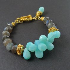 lovejewelry:    The Maggie Bracelet - Labradorite and Peruvian Blue Opal