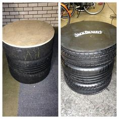 Table made off tires. Jack Daniels style