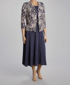 Look what I found on #zulily! Gray Floral Dress & Jacket - Plus by Jessica Howard #zulilyfinds