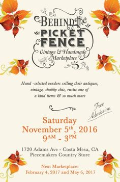 """Behind The Picket Fence """"Vintage & Handmade Marketplace"""" August 6th in Costa Mesa!! (1720 Adams Ave. Costa Mesa) Over 65 vendors selling shabby chic, vintage, home decor, up-cycled, re-purposed, handmade items!!"""