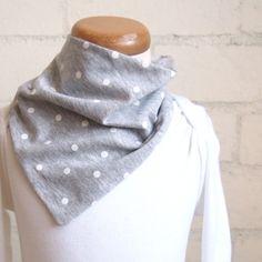Organic Cotton Bandana Bib - White Spots on Light Grey
