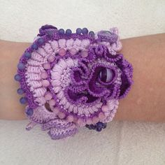 Freeform Crochet Cuff Bracelet in Shades of by angelicadelic