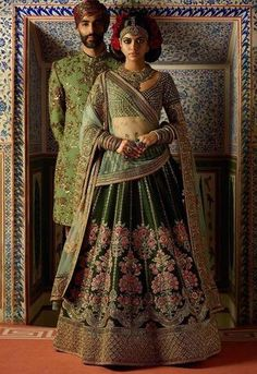 Latest Collection Ethnicmode Indian Pine Green color Thai Silk Fabric Designer Wedding Wear Bridal Lehenga Choli with Embroidery Work. A New arrival in women's Lehenga Choli. Get unique & elegant Lehengas designs from our huge collection. Indian Dresses, Indian Outfits, Couple Wedding Dress, Wedding Shoot, Wedding Themes, Dream Wedding, Bridal Lehenga Collection, Sabyasachi Collection, Pakistani Wedding Outfits