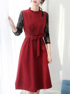 Long Sleeve Dress Lace Waist show thin all-around shift dress Get the latest womens fashion online With of new styles every day from dresses, onesies, heels, & coats, # Stylish Dresses, Casual Dresses, Fashion Dresses, Ladies Dresses, Fashion Styles, Fashion Trends, Buy Dress, Lace Dress, Dress Silhouette