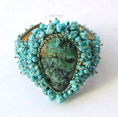 turquoise cuff bracelet, bead embroidery, African turquoise gemstone cabochon
