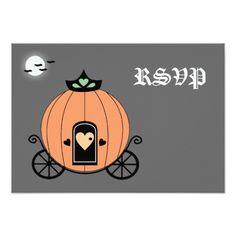 Pumpkin Carriage At Night RSVP Card