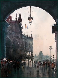Dusan Djukaric     After rainy day in Venice, watercolor - 54x74 cm