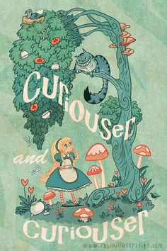 Curiouser and curiouser! Alice meets the Cheshire Cat for the first time and is perplexed. I love Alice in Wonderland--that book (and its companion/sequel) drove me to kid lit as my profession. This is n new Alice lit poster to match this fave: Cat Alice, Alice In Wonderland Illustrations, Alice In Wonderland Poster, Chesire Cat, Cat Light, Alice Madness, Lewis Carroll, Adventures In Wonderland, Wonderland Party