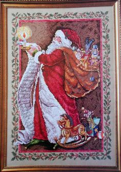 Donna Yuen SANTA'S LABOR Of LOVE Artwork By Virginia Kylbert - Counted Cross Stitch Pattern Chart - fam. $12.25, via Etsy.