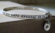 Hand stamped sterling silver affirmation bangle bracelet - Be who you were created to be