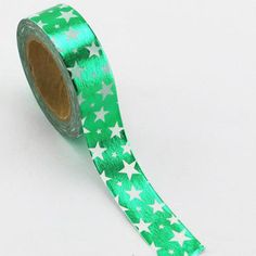 Green Foil with White Stars Paper Washi Tape, 15mm x 10m, by Love My Tapes