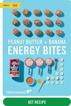 Perfect on-the-go breakfast, snack, or dessert. Delicious bites packed with hearty oats, creamy peanut butter, and bananas from Hello Goodness. Diet Recipes, Snack Recipes, Cooking Recipes, Healthy Recipes, Cooking Tips, Energy Snacks, Energy Bites, Macaroons, Banana Energy