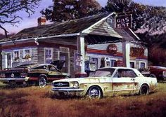 I've started this new project based on the OLD BARN. It going to be an old wooden gas station, inspired on two Dale Klee paintings. Ford Mustang, 68 Mustang Fastback, Mustang Convertible, Car Part Art, Car Prints, E Motor, Car Part Furniture, Old Gas Stations, Classic Mustang