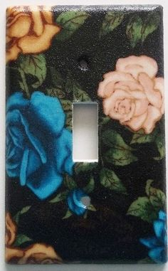 Rose Roses Blue Cream Floral Light Switch Outlet Plate Living Room Wall Décor. Different plate styles available.