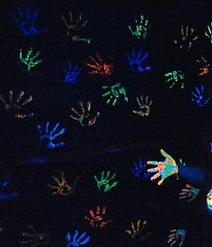 Glow in Dark Birthday Party Fun Glow Paint Handprint Wall -guestbook-