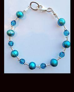 Bright Turquoise Freshwater Pearls, Swarovski Crystal & Liquid Sterling Silver Bracelet