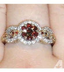 White & Red Diamonds 14kt Gold Ring!! - $750 (Redmond)