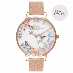 Ladies Painterly Prints Hummingbird Rose Gold Mesh Watch | Olivia Burton London