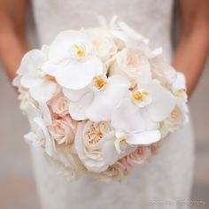 cream/blush roses & white phalaenopsis orchids (bride's bouquet)