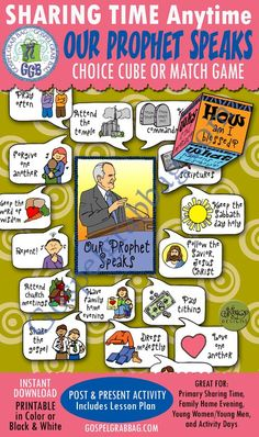 """$3.50 FOLLOW THE PROPHET: """"Our Prophet Speaks"""" (Choice Cube Activity or Match Game - Primary Sharing Time, family Home evening, Activity Days"""