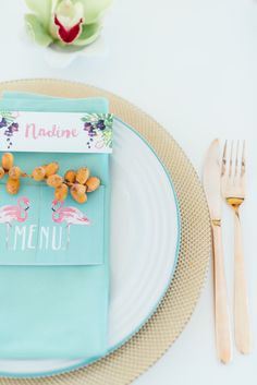 Tropical wedding place setting with hand painted menu and name card. Click for the most absolutely gorgeous Tropical Wedding ideas ever! http://www.confettidaydreams.com/tropical-wedding-ideas/