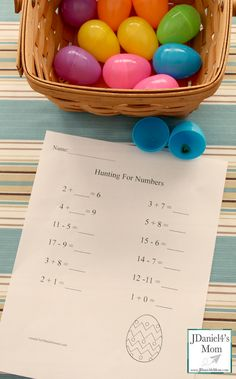 Easter Egg Hunt for Missing Numbers  Children hunt for plastic eggs containing numbers and use them to complete this free math worksheet.